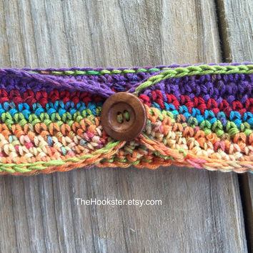 Boho Crochet Rainbow Variegated Ear Warmer Headband, Handmade Crocheted Ear Warmer w/ Button Accent, Boho Ear Warmer, Rainbow Headband
