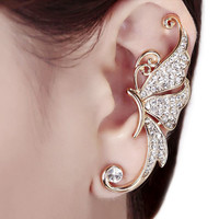 Trendy Lovely Rhinestones Inlaid Crystal Butterfly Shaped Woman 1 Piece Ear Clip Jewelery Accessories EAR-0485