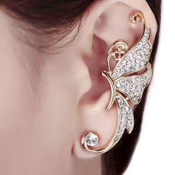 Women fashion Cute Rhinestone Crystal Butterfly Ear Cuff Clip Cartilage Ear Cuff Earring Ear Clip Jewelry Drop Shipping