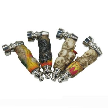 Resin Skull Smok Metal Pipes Portable Smoking Pipe Weed Tobacco Pipe Smoking Pipes Gifts Narguile Grinder Smoke