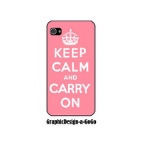 Iphone 4/4s case, Keep Calm and Carry On, custom cell phone case, original design