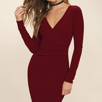 Love Me Completely Dark Red Long Sleeve Bodycon Dress
