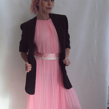 hot pink pleated dress / Knife Pleat dress / stunning / s, m
