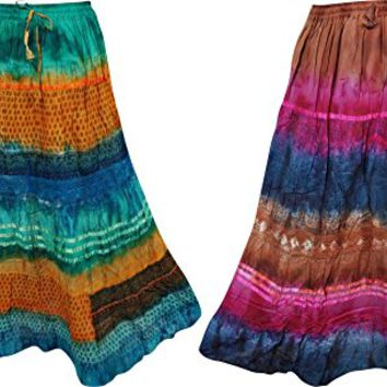 Mogul Interior Womens Maxi Skirt Tie Dye Print Vintage Crinkle Summer Boho Hippie Flare Long Skirts