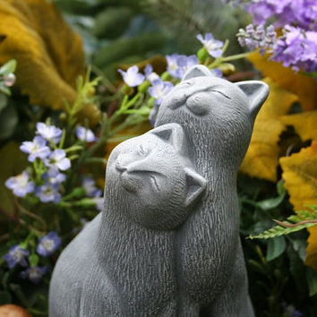Cat Statue - Outdoor Garden Decor - Concrete Cat Couple - Soaking Up the Sunshine
