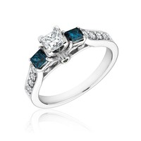 Diamond and Blue Diamond Princess Plus Three-Stone Ring 1ctw