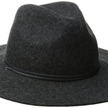 Coal Women's The Lee Wool Felt Wide-Brim Fedora Hat with Leather Cord, Heather Black, Medium