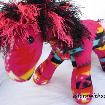 Navajo blanket horse, pink fire, pendleton inspired, stuffed animal, plush, plushie, girl horse, hot pink, pendleton blanket, native indian