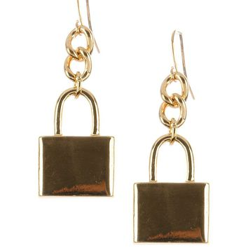 Gold Metal Lock Charm Earring