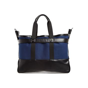 Vegan Leather Navy Canvas Tote Bag