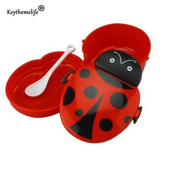 Keythemelife Cartoon Ladybug Food Container Lunch boxs Kids fruit Snack Bento Microwave Lunchbox D0