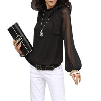 Elegant Bow Neck Long Lantern Sleeve Blouse/Top