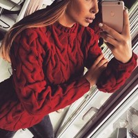 Dark Red Plain Round Neck Long Sleeve Pullover Sweater