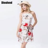 Dioufond 2017 Vintage Floral Printed Dress Slim Robe Femm Women Mini Spaghetti Strap Vestido Sleeveless Women Dresses Summer
