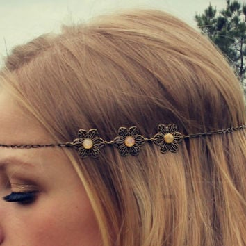 flower pink opal chain head piece, chain headband, grecian headband, metal headband, unique headband