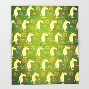 Flowers & Unicorns Throw Blanket by That's So Unicorny