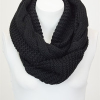 Dual Texture Cable Knit Infinity Scarf - Black