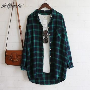 Drop shipping Womens Tops Casual Blouses Green femme Long Sleeve Plaids Flannel Shirt Cotton Women Shirts blusas de mujer 2017
