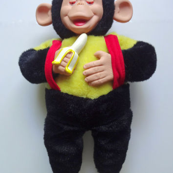 Vintage Mr. Bim Stuffed Toy Monkey With Banana 1960s