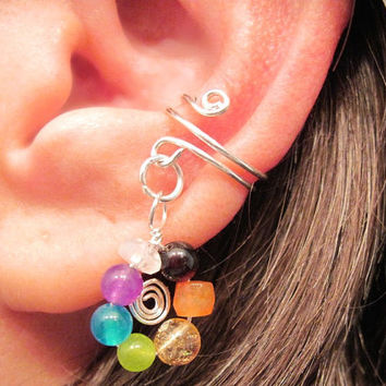 "Non Pierced Chakra ""Wheel of Infinity"" Ear Cuff Cartilage Gemstone Chakra Balancing Sterling Silver"