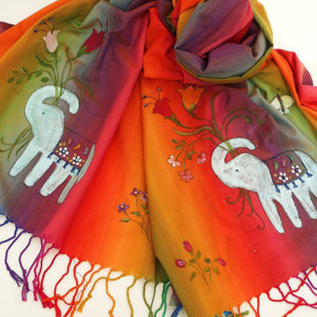 Painted Boho Indian Elephant Scarf Beaded Bohemian Hippie Accessories FREE SHIPPING