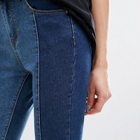 PrettyLittleThing Contrast Twisted Seam Skinny Jeans at asos.com
