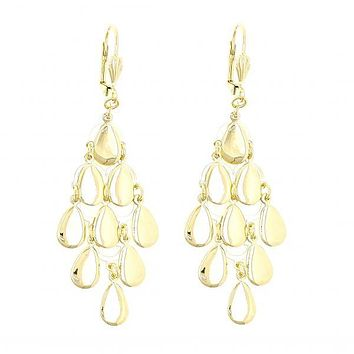 Gold Layered 02.63.2198 Chandelier Earring, Teardrop Design, Polished Finish, Gold Tone