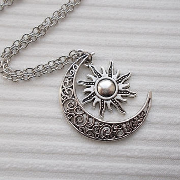 Nikajewellerybox on etsy on wanelo silver sun and moon necklace fashion necklace celestial necklace handmade jewellery sun necklace moon necklace silver aloadofball Images