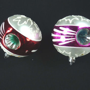 Vintage Christmas Ornaments Double Indent Set of 2 Mercury Glass Pink Red White Blue Green