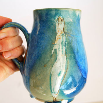 Large light Green and Purple Coffee Mug, 18 oz, handmade ceramic Mug, Pottery coffee cup with figure.