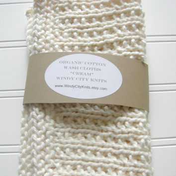 Organic Cotton Wash Cloth Set Cream by WindyCityKnits on Etsy
