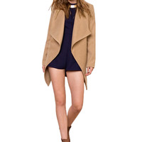 Khaki Wool Turn Down Collar Long Sleeve Coat