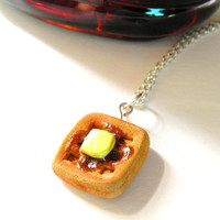 Waffle Necklace, Belgian Waffles, Food Jewelry, Food Necklace, Gift Ideas, Birthday Gift Ideas, Holiday Gifts
