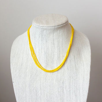 Yellow Seed Bead Necklace.  Beaded Necklace. Short Necklace.  Yellow Jewelry. Womens Necklace. Multistrand Necklace. Gifts for her