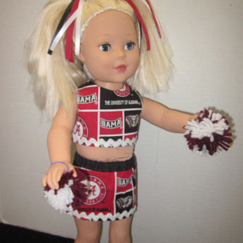 American Girl 18 Inch University of Alabama Doll Cheer Outfit By Sweetpeas Bows & More
