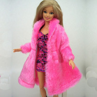 Kids Playhouse Toy Doll Accessories Winter Warm Wear Pink Fur Coat Clothes For Barbie Dolls Fur Doll Clothing For 1 6 BJD Doll