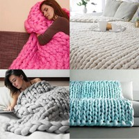 100X80cm Hand Chunky Knitted Blanket Thick Wool Bulky Knitting Throw