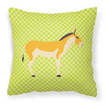Turkmenian Kulan Donkey Green Fabric Decorative Pillow BB7680PW1414