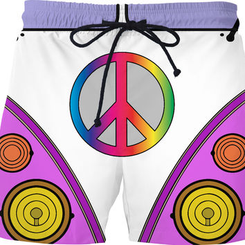 Peace and love in pink and purple colors, hipster wagon, bus swim shorts