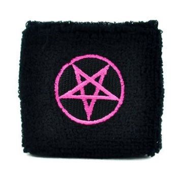 Pink Pentagram Wristband Death Metal Heavy Sweatband Metal