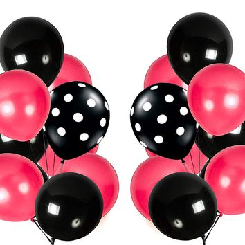 PartyWoo Black and Pink Balloons 90 pcs 12 inch Black Balloons Fushia Pink Balloons Black Polka Dot Balloons Latex as Minnie Mouse Party Balloons, Sweet 16 Party Decorations, Paris Theme Party
