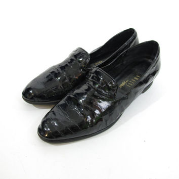 80s 90s Black Patent Leather Loafers Slip On Flats Low Wedges Shiny Black Loafers Slick Hugh Hefner Faux Croc Shoes Made In Italy  (10 B)