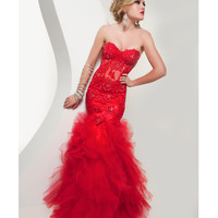 Jasz Couture 4920 Sexy Red Lace Ruffle Mermaid Prom Gown 2015 Prom Dresses