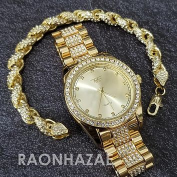 Raonhazae Hip Hop Iced Lab Diamond Blu Face Drake 14K Gold Plated Watch with Rope Bracelet Set - GTR004