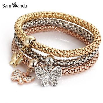 3PCS Set Crystal Heart Bracelets & Bangles 2017 Fashion Gold Colour Elastic Bracelets for Women Multilayer Pulseira Masculina