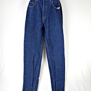 Men's Gap Jeans Button Fly 34 X 32 Loose Fit Dark Blue Wash 100% Cotton 1970's