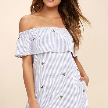PPLA Agave White Striped Embroidered Off-the-Shoulder Dress