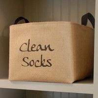 Clean Socks Burlap Storage Basket