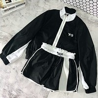 ADIDAS Y-3 2018 new casual slim running jacket sunscreen shirt shorts two-piece F-AG-CLWM black