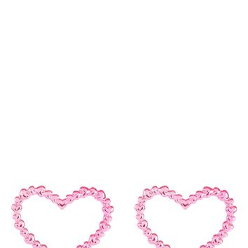 Pink Heart On Heart Earrings